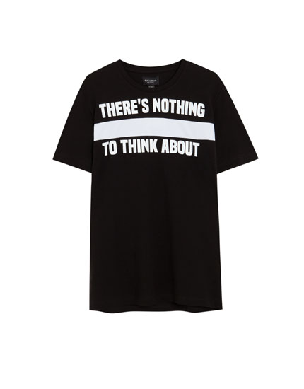 Piqué panel and slogan T-shirt