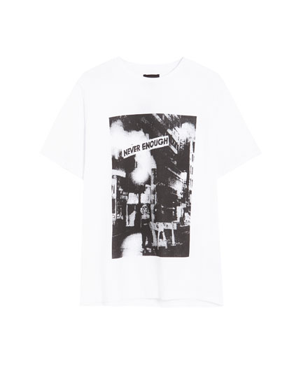 Photo print T-shirt with a chunky knit effect