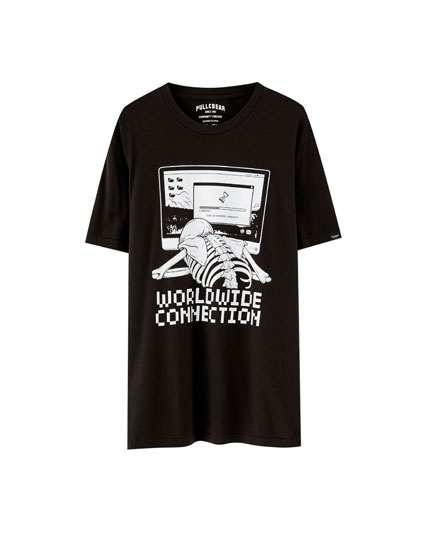 Skeleton and computer T-shirt