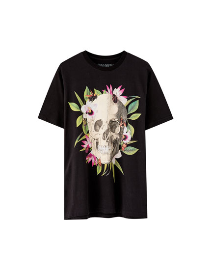 Tropical leaf and skull T-shirt