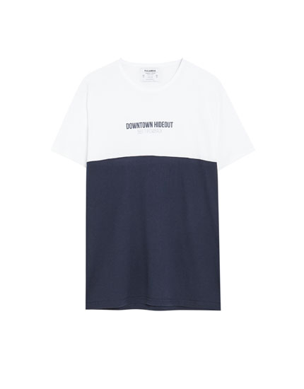 Short sleeve T-shirt with panel and slogan