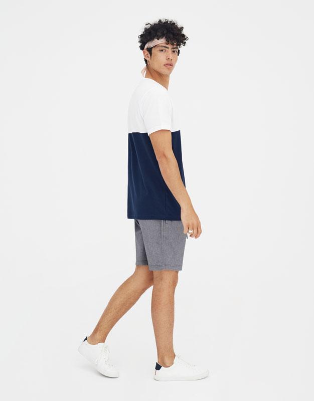 Pull & Bear - T-shirt manches courtes bloc et inscription - 1
