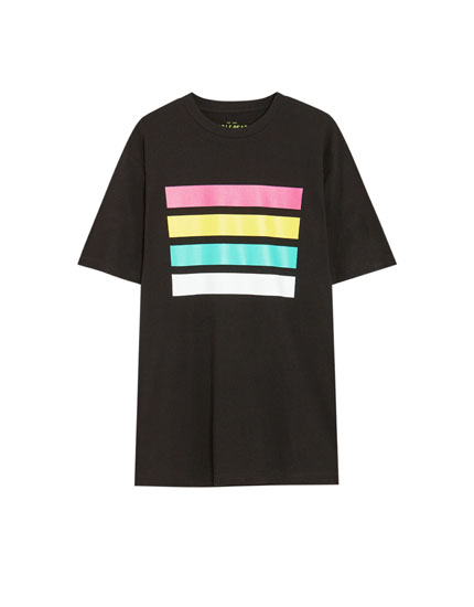 T-shirt with multicoloured stripes