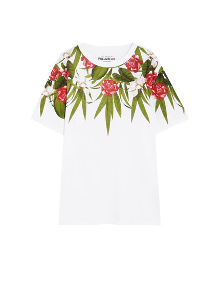 Short sleeve floral print T-shirt