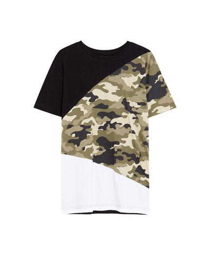 Camouflage panel T-shirt