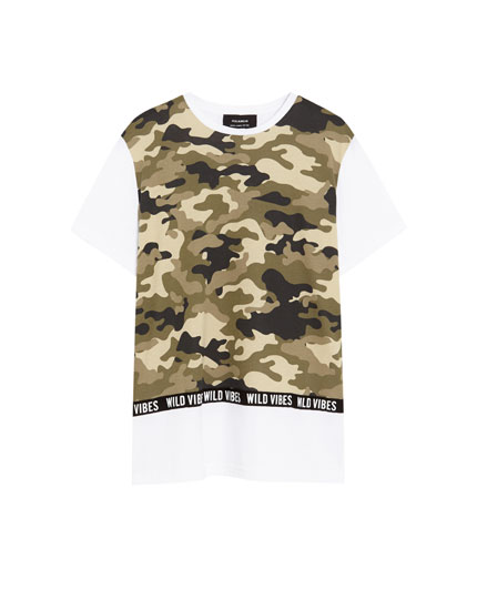 White T-shirt with a camouflage panel and slogan taping
