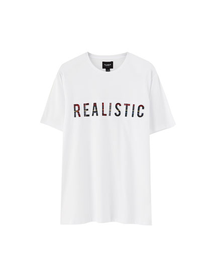 T-shirt with raised tartan slogan