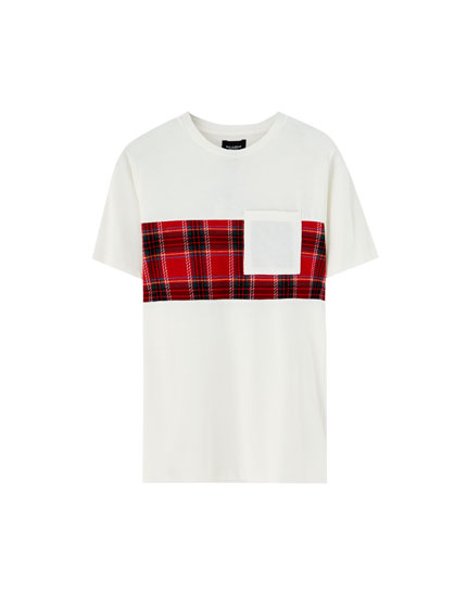 Tartan check panel T-shirt
