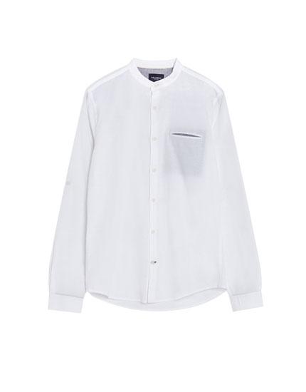 Hemd mit Maokragen aus Biobaumwolle und Leinen