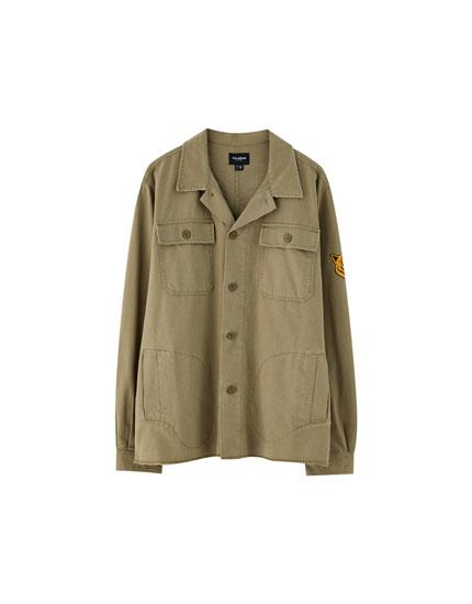 Khaki worker overshirt