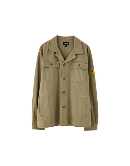 Khaki worker overshirt