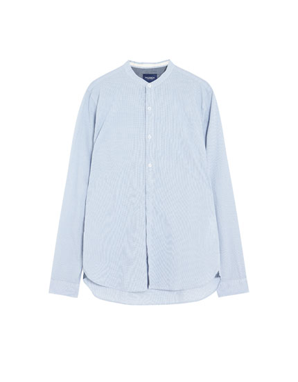 Long sleeve shirt with stand-up collar