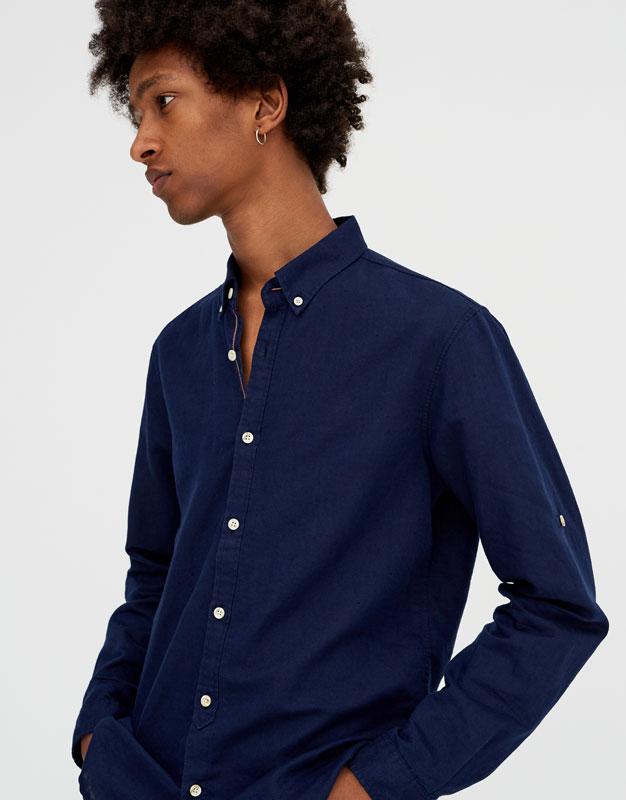 Pull & Bear - Camisa manga larga lino - 1