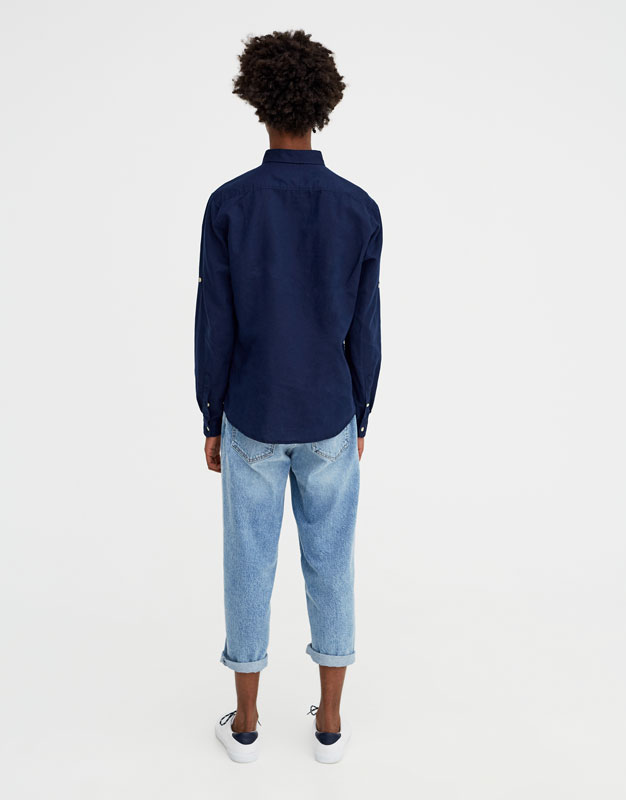 Pull & Bear - Chemise à manches longues lin - 4