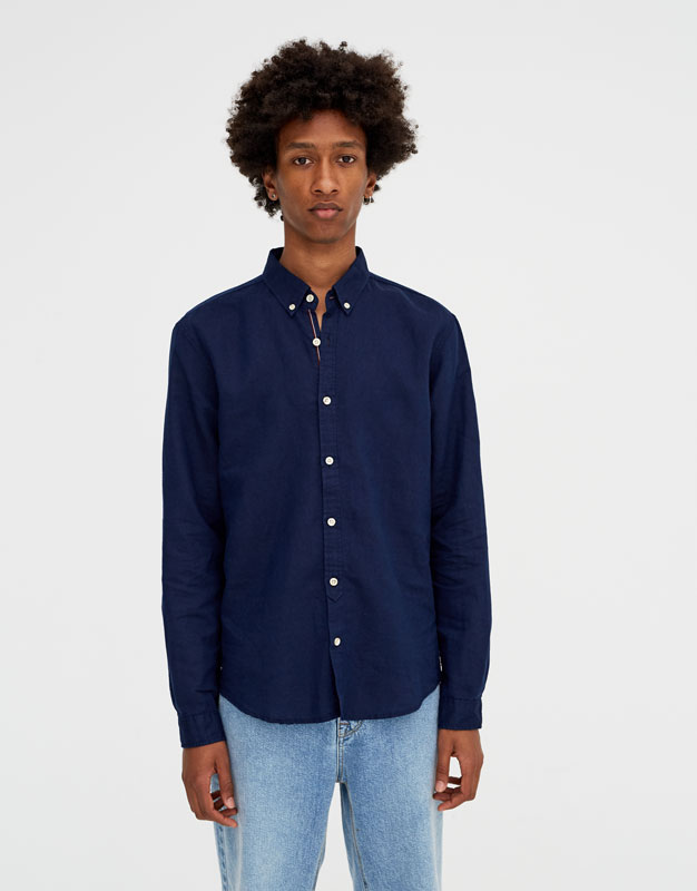 Pull & Bear - Chemise à manches longues lin - 5