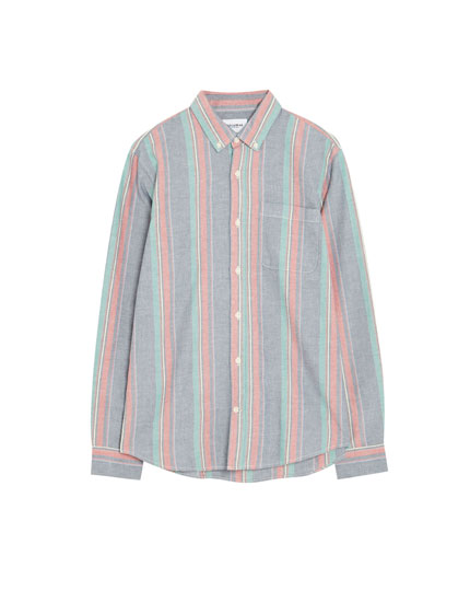 Striped long sleeve Oxford shirt