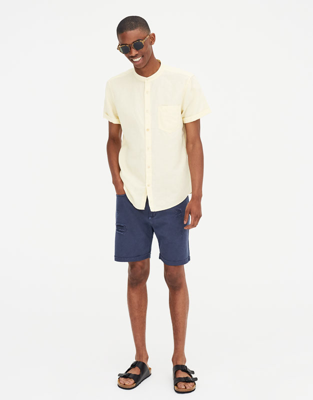 Pull & Bear - Chemise lin manches courtes - 1