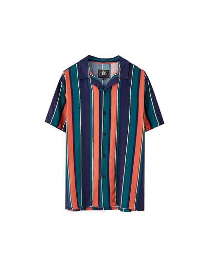 Viscose shirt with wide orange stripes