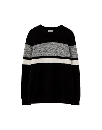 Flecked panel sweater