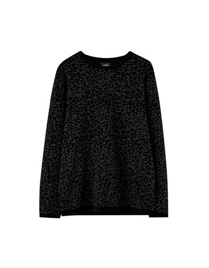 Black leopard print sweater