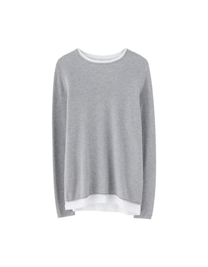 Sweater with interior T-shirt