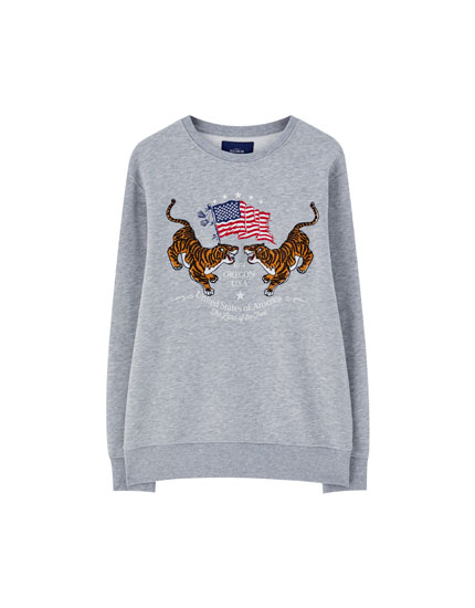 Sweatshirt with embroidered tigers and American flag