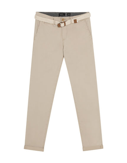 Tailored fit trousers with belt