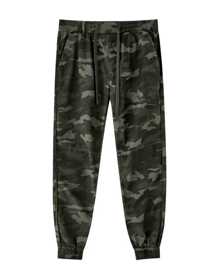Cotton camouflage jogging trousers