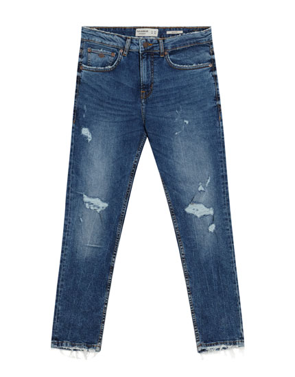 Slim comfort fit jeans in middenblauw