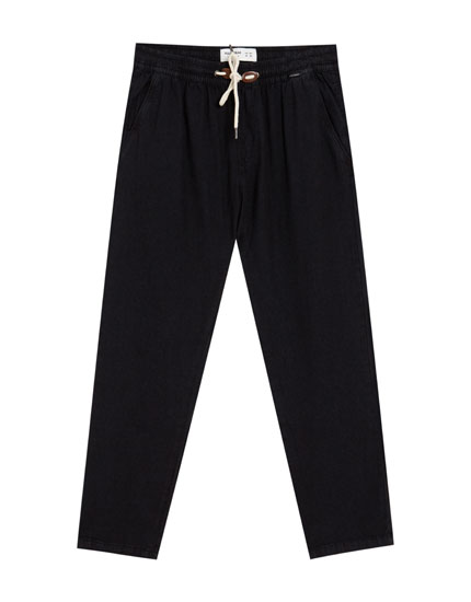 Tailored denim jogging trousers