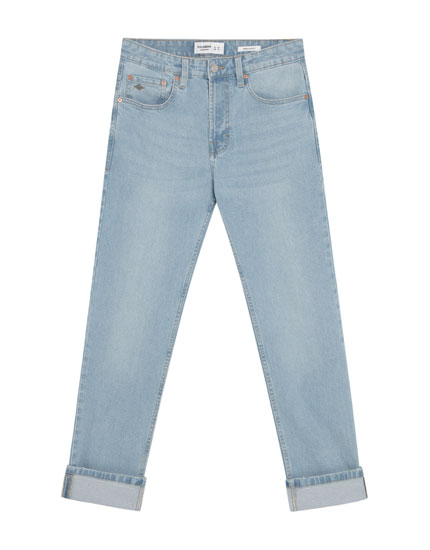 Regular fit light blue faded jeans