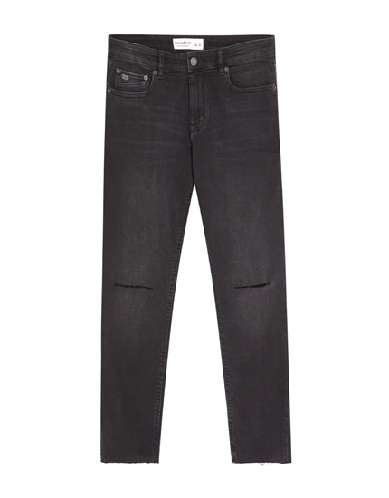 Jeans superskinny fit corte rodilla