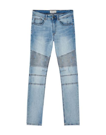 Blue super skinny biker jeans