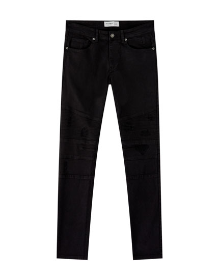 Black super skinny biker jeans