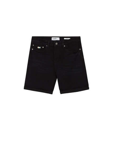 Black slim fit comfort denim Bermuda shorts