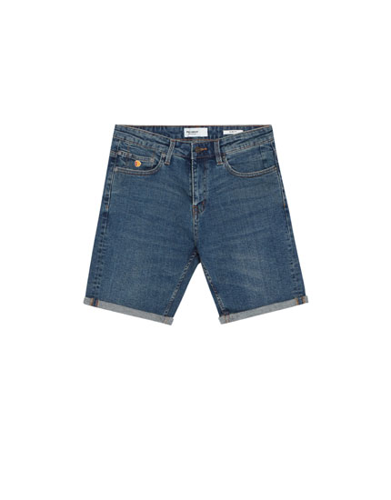 Medium blue slim fit comfort denim Bermuda shorts