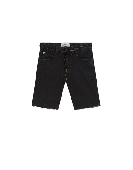 Super skinny fit denim Bermuda shorts