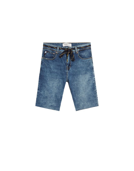 Blue super skinny denim Bermuda shorts