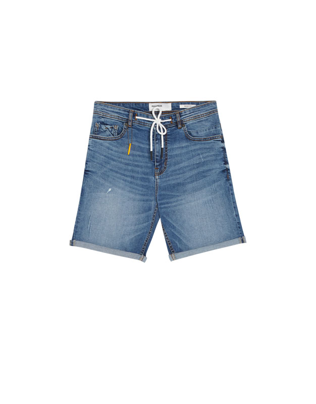 5c4c60aa82 Medium blue skinny denim Bermuda shorts - PULL&BEAR