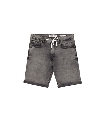 Grey skinny denim Bermuda shorts