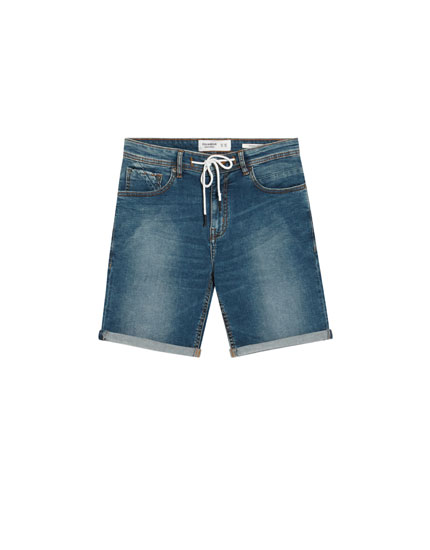 Skinny stretch denim Bermuda shorts