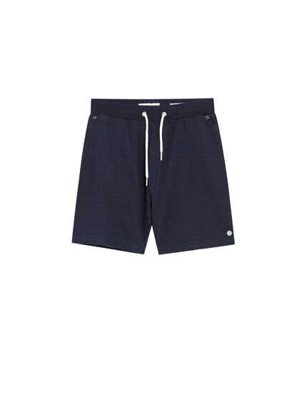 Drawstring denim Bermuda shorts