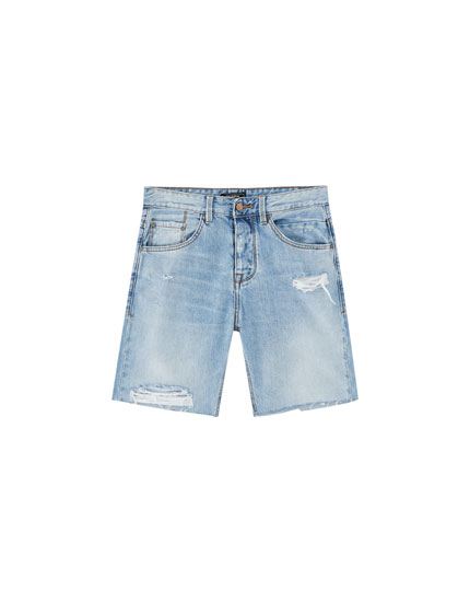 Regular fit denim Bermuda shorts