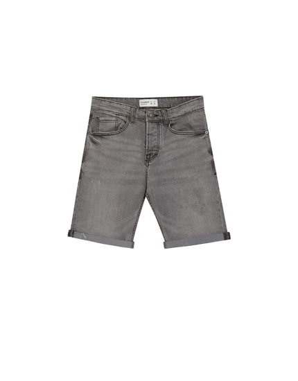 Bermuda denim regular confort gris