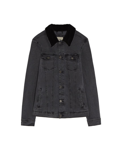 Zwart denim truckerjack