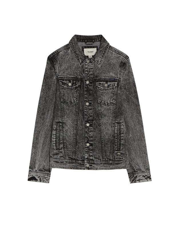 ffb2b27979 Faded black denim jacket - PULL BEAR