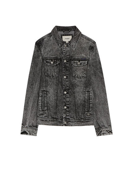 Zwart denim jack met washed effect