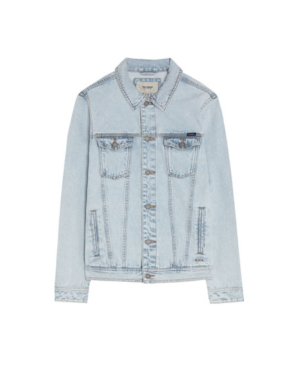 Jeansjacke im Washed-Look in Hellblau