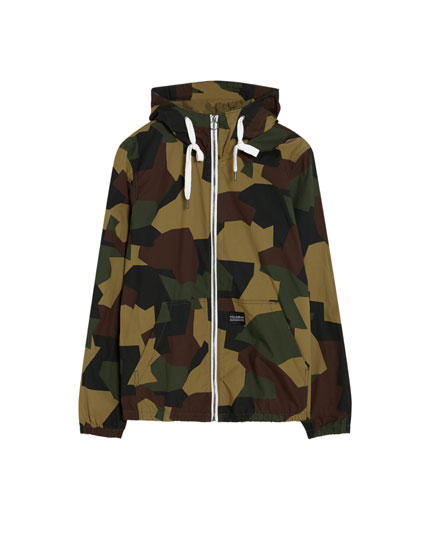 Hooded poplin jacket