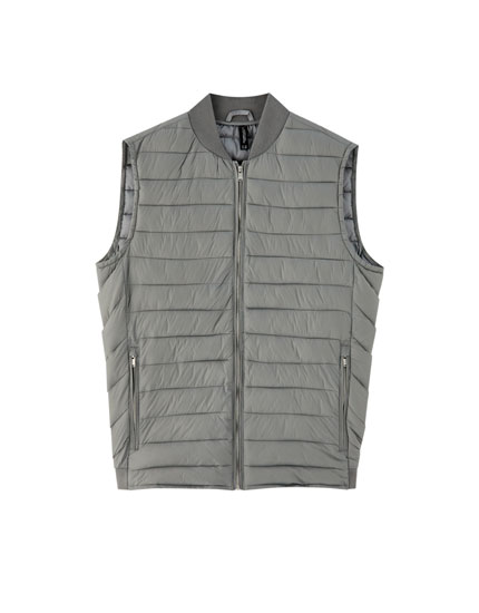 Quilted waistcoat with ribbed collar